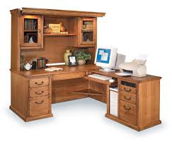 image of wood l shaped office desks with hutch