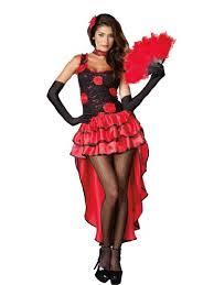 Spanish Dancer Halloween Costume Red Black Flamenco Dancer Costume 4 Piece Feather Fan