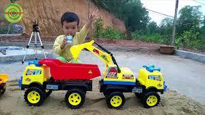 excavators for kids baby playing excavators destructive the
