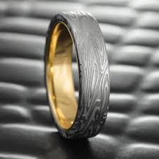 damascus steel wedding band flat damascus steel mens wedding band with 14k gold liner 7mm wide