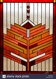 symmetrical stained glass window retro art deco design stock