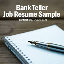 Teller Sample Resume Bank Teller Job Resume