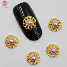 50pcs new purple pearls nail stickers 3d metal alloy nail art