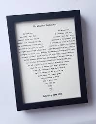 anniversary present anniversary gift framed song lyrics wedding present personalised