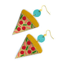 food earrings pizza earrings with gold leather and colorful toppings food jewelr