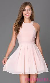 light pink short dress short sleeveless fit and flare dress promgirl