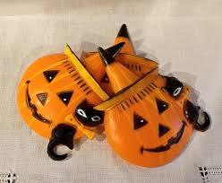 vintage halloween cake toppers three hard plastic jack o lantern