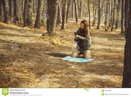 The Forest Map Hiker Woman Searching Direction In The Forest Stock Photo Image