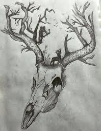 awesome tattoo deer skull tree antlers bow hunting scene