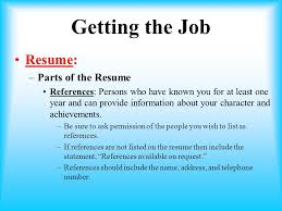 Job Resume References by Unit 1 Employment Basics Ppt Video Online Download