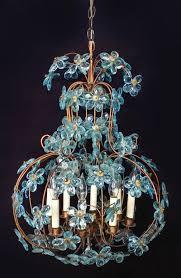 Vintage Antique Chandeliers Large Maison Bagues Chandelier Blue Glass Flowers Fench