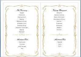 Sample Wedding Programs Outline Free Wedding Program Templates Microsoft Word Pacq Co