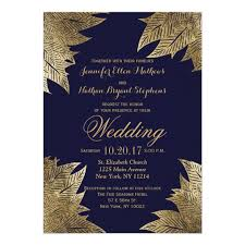 navy blue wedding invitations gold leaves on navy blue wedding invitations zazzle