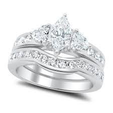 marquise cut wedding set marquise cut cz wedding ring set sterling silver laraso co