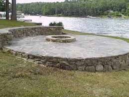 Patio Half Wall Greetings From Earth Fire On The Water Fire Pit Flagstone Patio