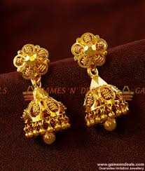 temple design gold earrings er404 heavy jhumki south indian type temple design imitation ear