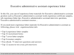 Admin Executive Resume Sample by Executiveadministrativeassistantexperienceletter 140831112913 Phpapp02 Thumbnail 4 Jpg Cb U003d1409484577