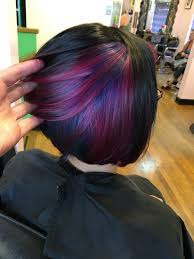 best haircolors for bobs aaashleee instagram peekaboo color purple hair pravana angled