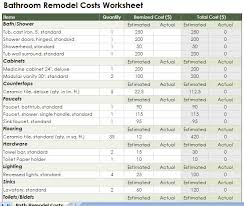 renovations budget template free bathroom remodeling costs template