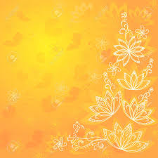 Yellow Orange Flowers - abstract orange and yellow floral background with flowers contours