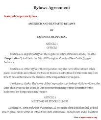 bylaws agreement sample bylaws agreement agreements org
