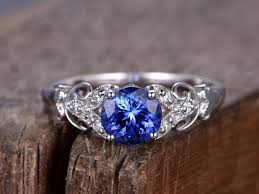 deco engagement ring sapphire ring deco engagement ring 7mm created blue gem