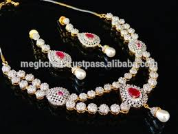 zircon necklace sets images Bollywood style american diamond jewellery wholesale cubic jpg