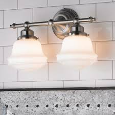 Two Light Bathroom Fixture This Two Light Bathroom Fixture Features A Milk Glass Look That