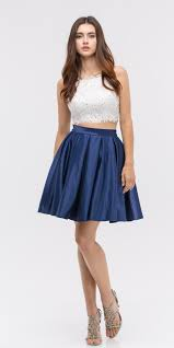 lace crop top pleated skirt navy white two piece homecoming dress