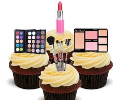 make up cosmetics edible cupcake toppers stand up wafer cake