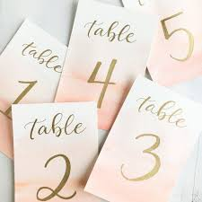 table numbers wedding watercolor and gold wedding table numbers custom color