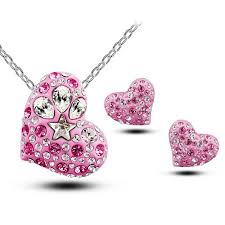 pendant necklace earrings images Wholesale 2016 new cute heart shape earrings and necklace set jpg