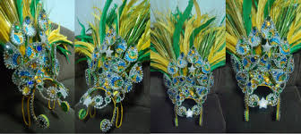 samba headdress head piece back pieces and arm feathered piece