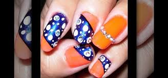 how to create a neon orange and dark blue nail art design nails