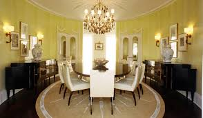 large round area rugs for dining room with yellow wall color ideas