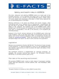e fact 22 safety and health risks in horeca occupational safety