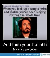 Memes Song - lol so true post 682 when you look up a song s lyrics and realize