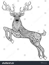 hand drawn magic horned deer birds stock illustration 315977237