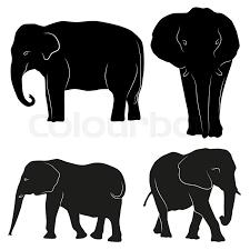decorative ornamental elephants silhouette vector illustration