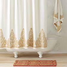 Gold Curtain Pearl White Gold Shower Curtain