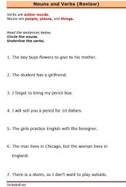 esl grammar exercises nouns and verbs