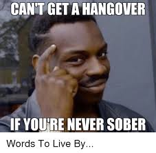 Hungover Meme - cant get a hangover if youre never sober words to live by