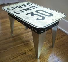 industrial metal sign table speed limit sign coffee table