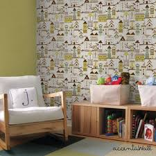 Peal And Stick Wall Paper Birdhouse Green Peel And Stick Fabric Wallpaper 2ft X 4ft Sheet