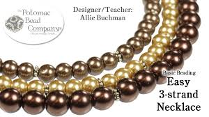 easy 3 strand beaded necklace youtube