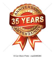 35 year anniversary 35 years anniversary golden label with ribbon vector vector