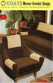Futon Arm Covers Vintage Crochet Pattern 1960s Antimacassars Crochet Chair Arm