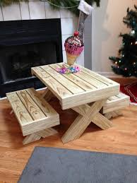 Kids Wooden Picnic Table Cute Kids U0027 Furniture Made Of Wooden Pallets
