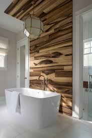 wood walls in shower stainless steel frame clear glass bathtub