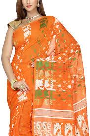 dhakai jamdani saree buy online giants orange tri color dhakai cotton jamdani saree muslin